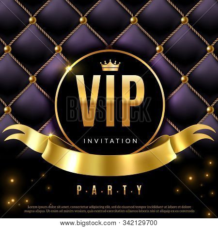 Vip. Luxury Invitation Coupon Certificate With Golden Letters, Exclusive And Elegant Logo Membership
