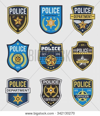 Police Badges. Officer Government Badge, Special Police Security Medallion And Federal Agent Signs,