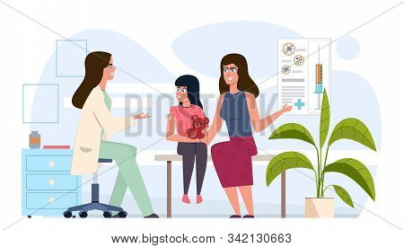 Kids Vaccination. Childhood Immunization, Pediatrician Children Vaccinating In Medical Office, Immun