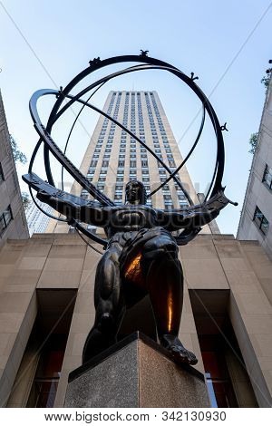 New York, United States - September 21, 2019: Low Angle View Of The Atlas Statue In Rockefeller Cent
