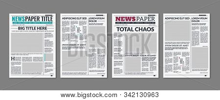 Newspaper Column. Printed Sheet Of News Paper With Article Text And Headline Publication Design Vect