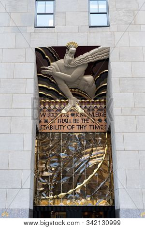 New York, United States Of America - September 21, 2019: Wisdom Relief Over The Entrance To The Main