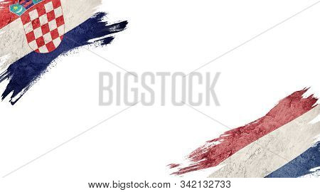 Flags Of Croatia Andnederland On White Background