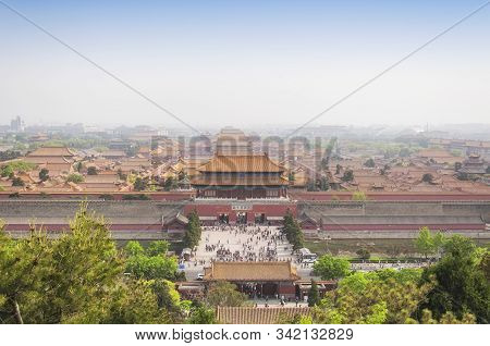 An Aerial View Of The Many Buildings Within The Forbidden City Beijing China As Seen From Jingshan P