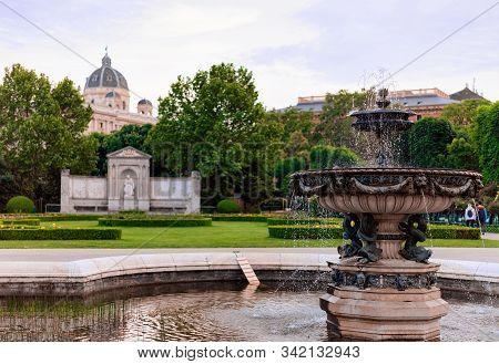 Fountain In Volksgarten In Old City Center In Vienna Austria