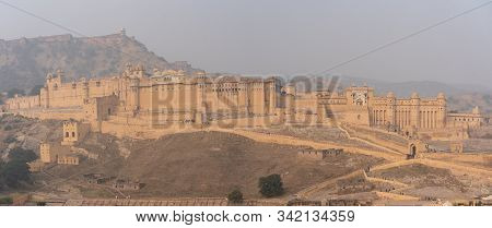 Jaipur, India - December 12, 2019: Exterior View Of The Historic Amber Fort