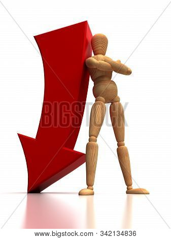 Arrow Down And Mannequin (isolated On White Background)