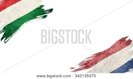 Flags Of Hungary Andnederland On White Background