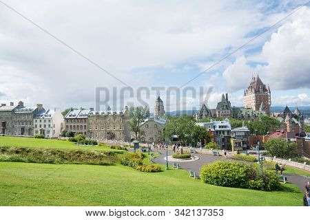Quebec City, Canada - August 6, 2015:view Of    The Famouse Frontenac Castle In Quebec City From Par