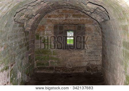 Interior Room Niche Of Stone Fortress Staraya Ladoga, Russia. Russian Defensive Fortification Concep