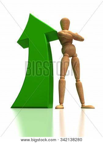Arrow Up And Mannequin (isolated On White Background)