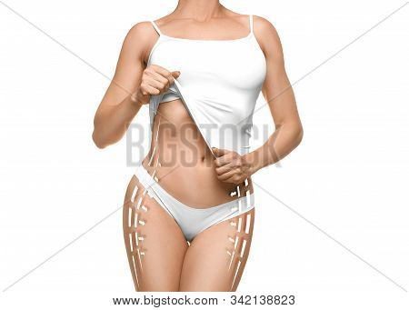 Perfect Female Body With Slimming Linew And Arrows Over White Background. Slimming, Dieting And Heal