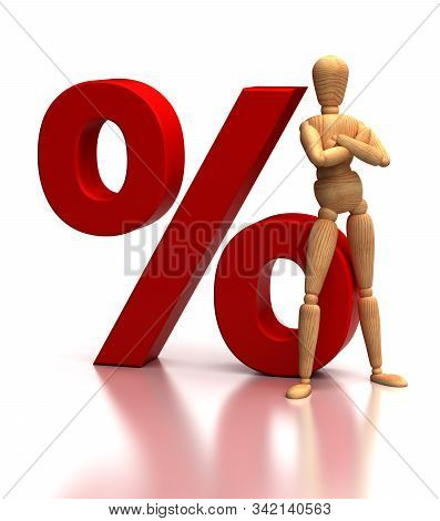 Percent Sign And Mannequin (isolated On White Background)