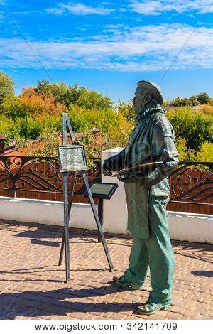 Vladimir, Russia - August 13, 2019: Painter At Work Sculpture In Vladimir, Russia. Golden Ring Of Ru