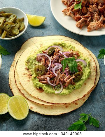 Mexican Corn Tortilla With Shredded Pork, Avocado, Red Onion And Jalapeno