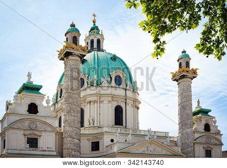 Karlskirche Church On Karlsplatz In Vienna In Austria