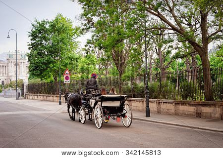 Horse Carriage On Road At Volksgarten In Vienna
