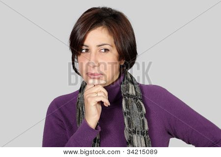 Woman With Purple Jacket And Gray Scarf