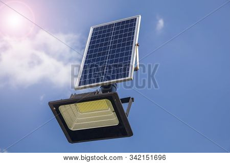 The Led Lamp Is Charged From The Solar Battery, Eco Friendly Autonomous Led Street Light Projector W