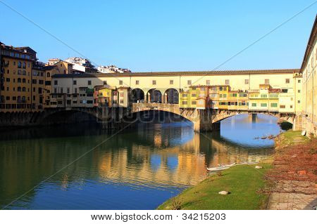 Old Bridge of Ponte Vecchio over Arno River, in Florence, Italy
