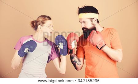 Sport For Everyone. Amateur Boxing Club. Equal Possibilities. Strength And Power. Man And Woman In B