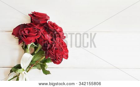 Valentine's Day Composition With Red Roses Flowers. Valentine Card. Greeting Card Template. Space Fo