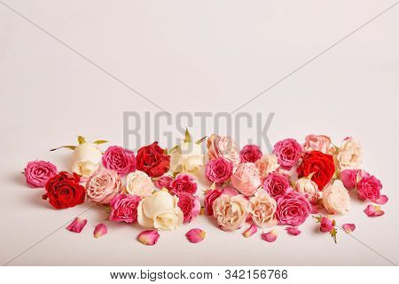 Valentine's Day Composition With Flowers. Valentine Card. Greeting Card Template. Space For Text. Co