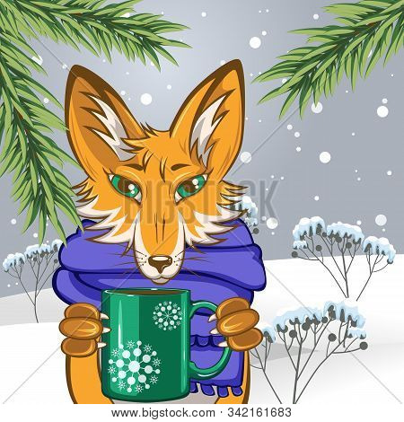 Winter Fairy Tale Of Fox With Mug In Its Paws In Snowing Field Underneath Fir Tree