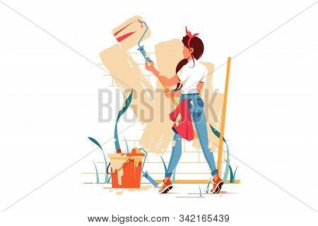 Female Painting Wall With Roller Beige Colour Vector Illustration. Woman Covered In Paint And Buildi