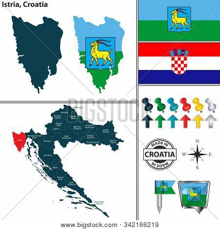 Vector Map Of Istria And Location On Croatian Map