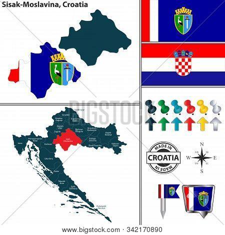 Vector Map Of Sisak Moslavina And Location On Croatian Map