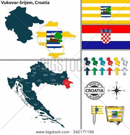 Vector Map Of Vukovar Srijem And Location On Croatian Map