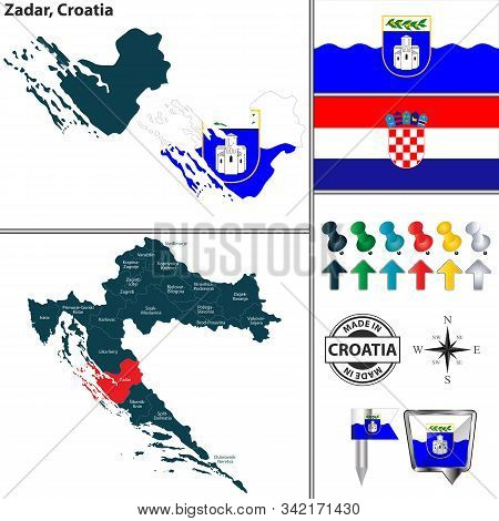 Vector Map Of Zadar And Location On Croatian Map
