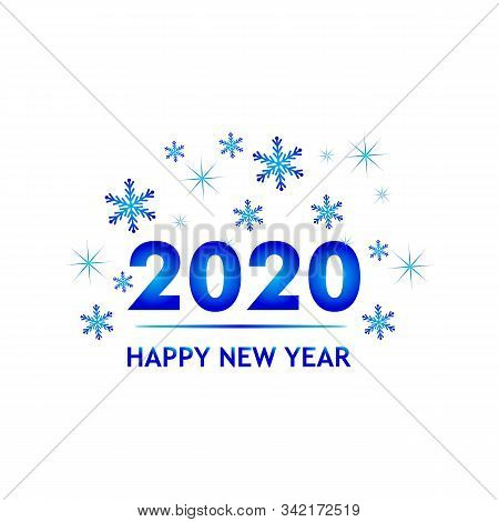 Logo 2020 In Blue With A White Background, New Year 2020, Text 2020 For Calendar Of New Years, Happy