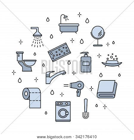 Set Of Vector Icons Of Bathroom. Bathroom Accessories Outline Icons. Bathroom Furniture Outline Icon
