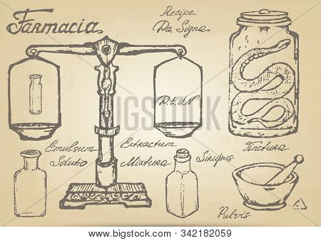 A Set Of Hand-drawn Sketches Of Ancient Pharmaceutical Supplies (scales, Bottles, Mortar And Pestle,