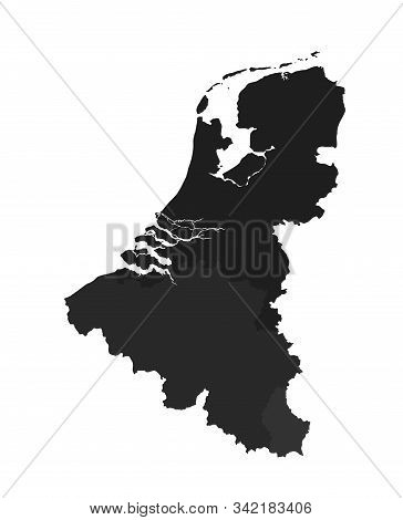 Benelux Countries Map Icon. High Detailed Isolated Vector Geographic Template Of European Countries