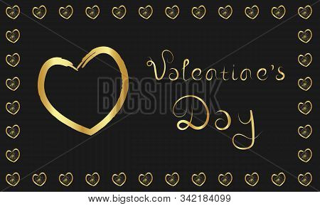 Valentine's Day Golden Happy Love Greeting Card On Dark Black Background. Stock Vector Illustration