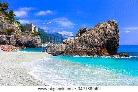 Italian summer holidays - Monterosso al Mare with beautiful beaches, Liguria