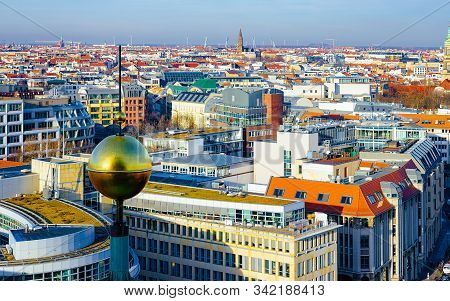 Aerial View To Cityscape In City Centre Downtown In Berlin Reflex
