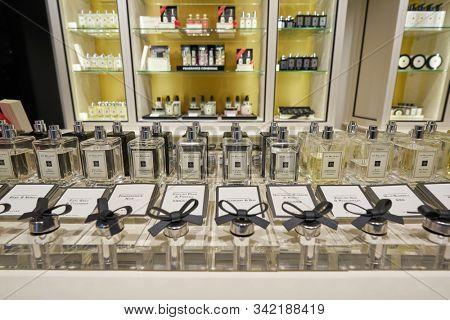 HONG KONG, CHINA - CIRCA JANUARY, 2019: perfumes on display at Jo Malone store in New Town Plaza shopping mall.