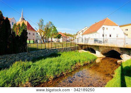Bistrica River And Saint Bartholomew Church Slovenska Bistrica In Slovenia
