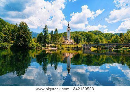 Scenery And Church St John Baptist Bohinj Lake At Slovenia