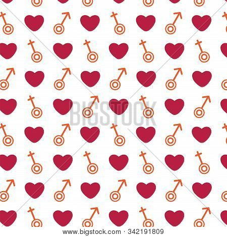 Seamless Pattern With Gender Signs Of Different Orientations And Red Hearts. Love. Valentines Day. F