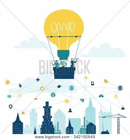 Business People Flying With Ant Hot Air Balloon Shaped As Light Bulb. Flying Over The City.  Start U