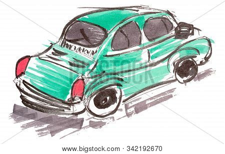 Car Hand Drawn Marker Sketch. Template For Drawing аnd Scetch Eps10 Vector Illustraion.