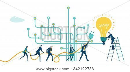 Business People Trying Get Own Place In Business In The Modern Internet Environment. Hightech Electr