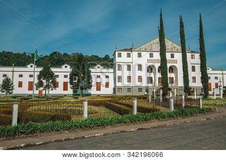 Bento Goncalves, Brazil - July 10, 2019. Street With The Salton Winery Headquarter Facade Behind A F
