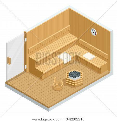 Isometric Sauna Interior. Finnish Sauna, Classic Wooden Sauna. Wooden Benches And Loungers Accessori