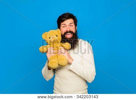 Teddy Bear. Smiling Man With Teddy Bear. Bearded Man With Teddybear Plush Toy. Gift And Present. Hol